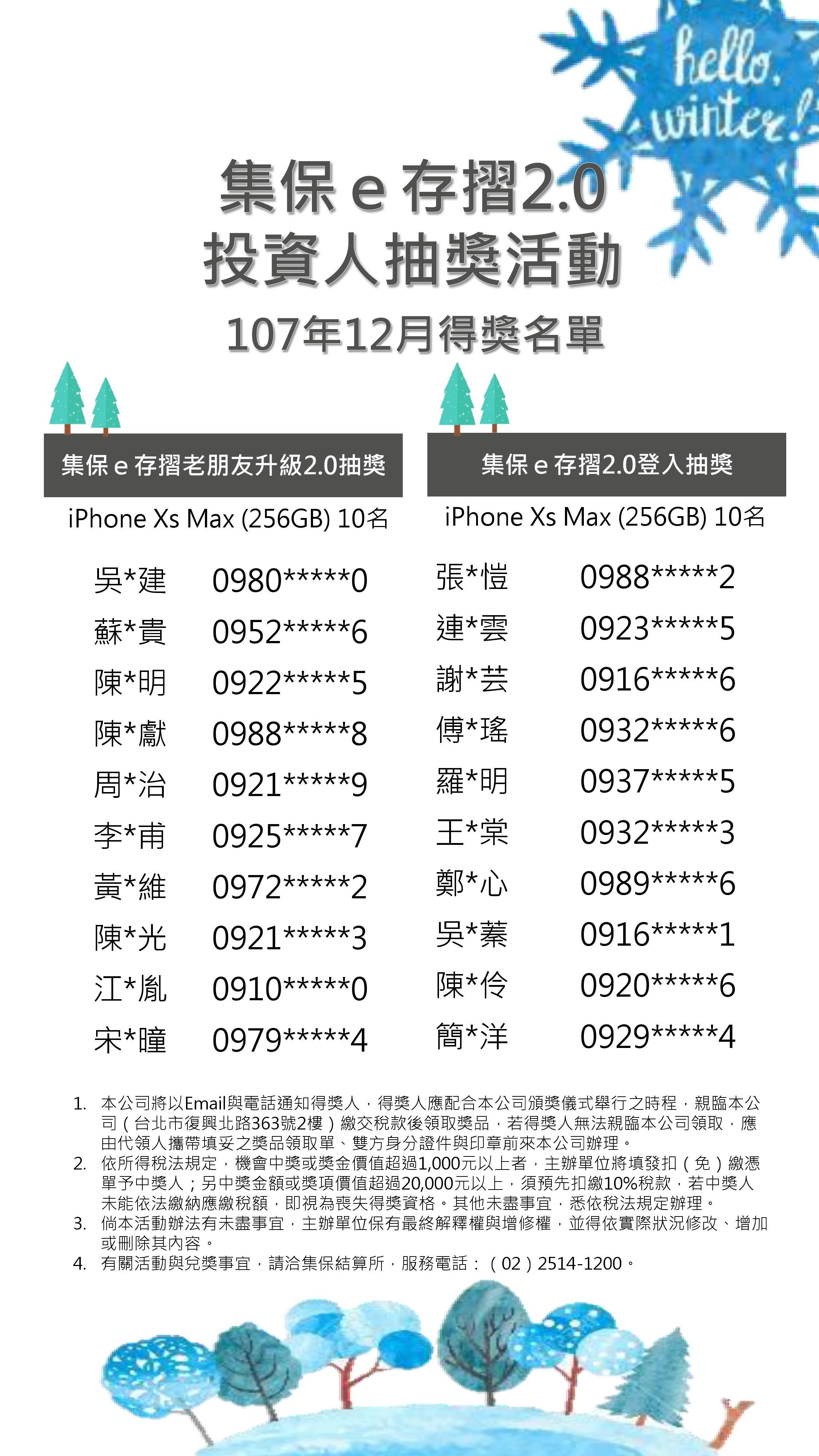 12月投資人抽獎活動中獎名單